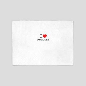 I Love PUGGIES 5'x7'Area Rug