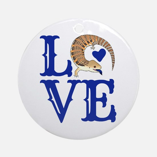 Love Blue Tongued Skink Round Ornament