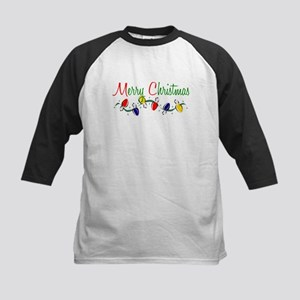 Merry Christmas Lights Kids Baseball Jersey