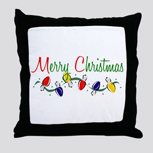 Merry Christmas Lights Throw Pillow