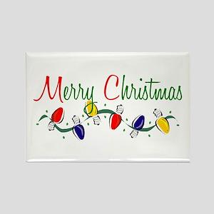 Merry Christmas Lights Rectangle Magnet