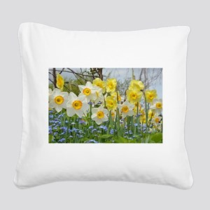 White and yellow daffodils Square Canvas Pillow
