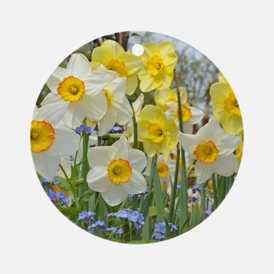 White and yellow daffodils Round Ornament