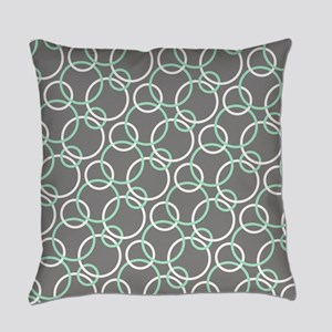 Mint White Gray Circles Everyday Pillow