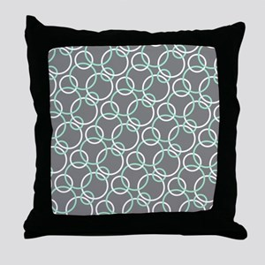 Mint White Gray Circles Throw Pillow