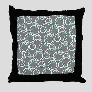 Mint White Gray Circles Throw Pillow