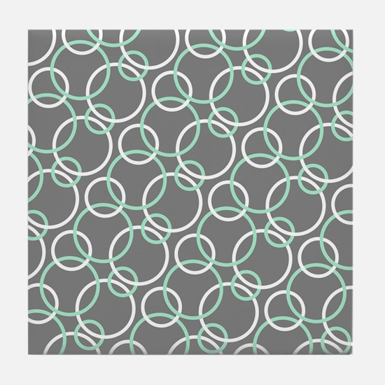 Mint White Gray Circles Tile Coaster