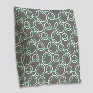 Mint White Gray Circles Burlap Throw Pillow