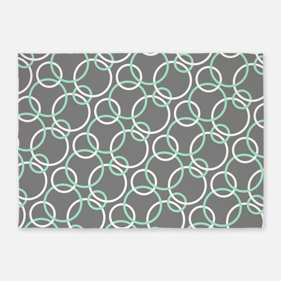 Mint White Gray Circles 5'x7'Area Rug