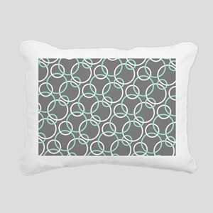 Mint White Gray Circles Rectangular Canvas Pillow
