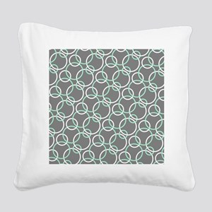 Mint White Gray Circles Square Canvas Pillow