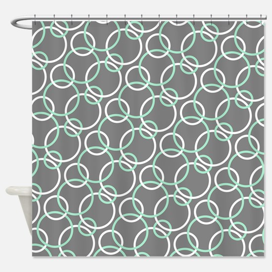 Mint Green Shower Curtain. Mint White Gray Circles Shower Curtain Green Curtains  CafePress