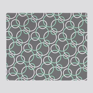 Mint White Gray Circles Throw Blanket