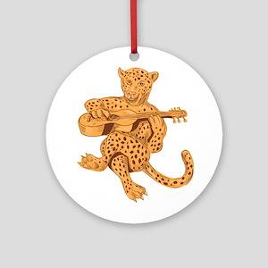 Jaguar Playing Guitar Drawing Round Ornament
