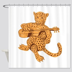 Jaguar Playing Guitar Drawing Shower Curtain