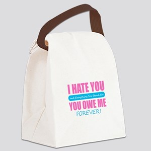 Humor - I Hate You Canvas Lunch Bag