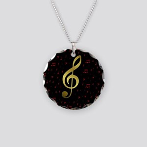 golden music notes in red an Necklace Circle Charm