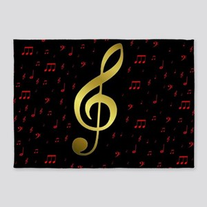 golden music notes in red and black 5'x7'Area Rug