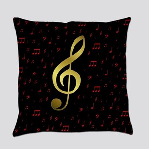 golden music notes in red and blac Everyday Pillow