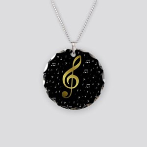 golden music notes Necklace Circle Charm