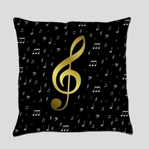 golden music notes Everyday Pillow