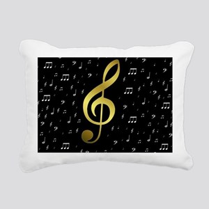 golden music notes Rectangular Canvas Pillow