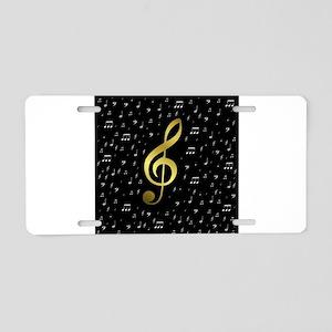 golden music notes Aluminum License Plate