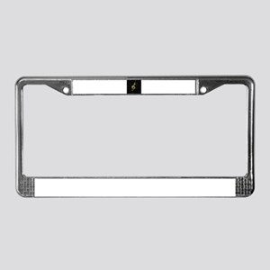 golden music notes License Plate Frame