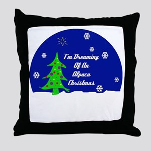An Alpaca Christmas Throw Pillow