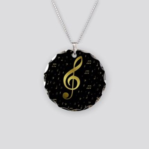 golden musiv notes in black Necklace Circle Charm