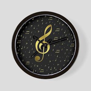 golden musiv notes in black Wall Clock