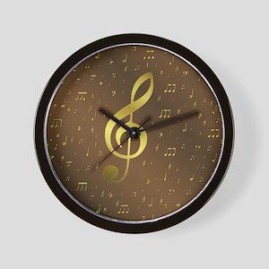 golden music notes Wall Clock