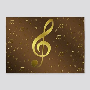 golden music notes 5'x7'Area Rug