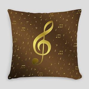 golden music notes Everyday Pillow