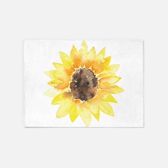 Cute Yellow Sunflower 5'x7'Area Rug
