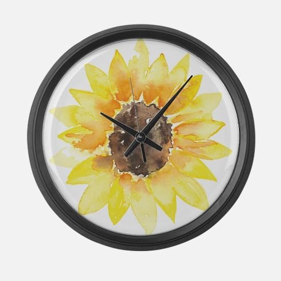 Cute Yellow Sunflower Large Wall Clock