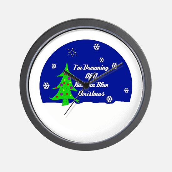 A Russian Blue Christmas Wall Clock