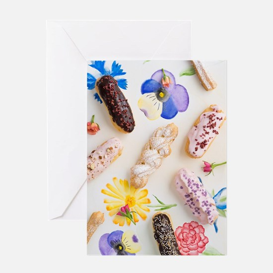 Eclairs with toppings Greeting Cards