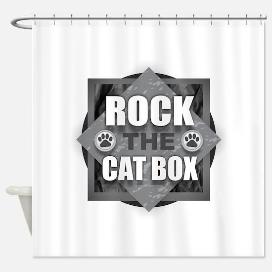 Rock Cat Box Shower Curtain