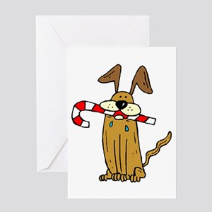 Candy Cane Dog Greeting Card
