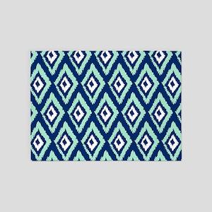 Modern Navy Blue Mint Ikat 5'x7'Area Rug