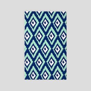 Modern Navy Blue Mint Ikat Area Rug