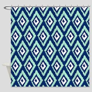 Modern Navy Blue Mint Ikat Shower Curtain