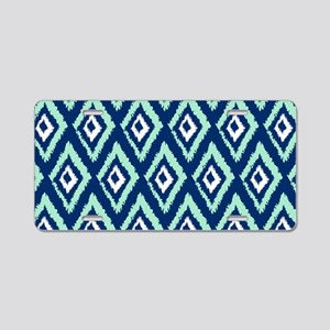 Modern Navy Blue Mint Ikat Aluminum License Plate
