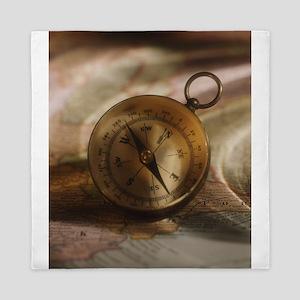 vintage compass Queen Duvet