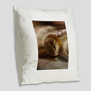 vintage compass Burlap Throw Pillow