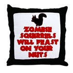 Zombies Squirrels Throw Pillow
