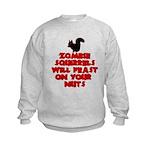 Zombies Squirrels Kids Sweatshirt
