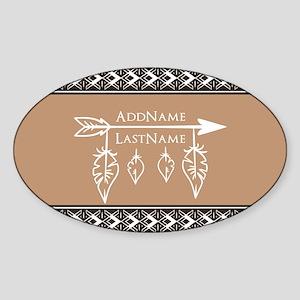 Custom Name Bohemian Arrow Sticker (Oval)