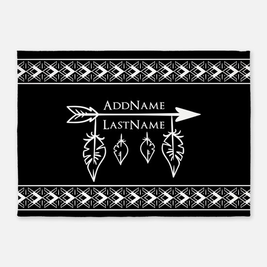 White on Black Bohemian Arrow Feath 5'x7'Area Rug